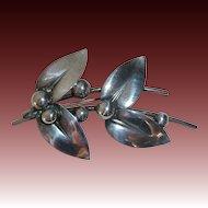 N. E. From Denmark Sterling Mistletoe Pin