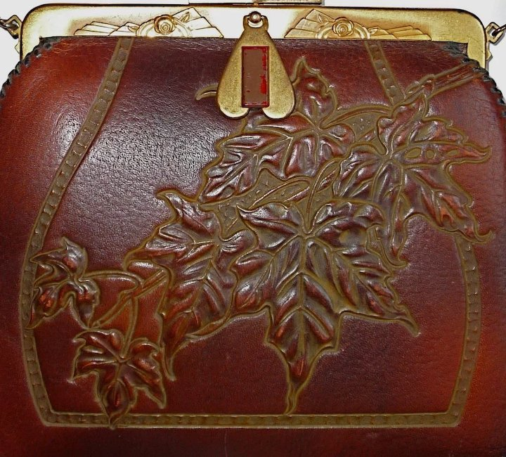 38c416627370 Arts & Crafts Tooled Leather Purse w Maple Leaves : BeJewelled ...