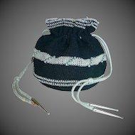 Black & Silver Crochet Rayon Cord Pull String Purse
