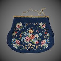 Needlepoint Wool Floral Purse Gilt Marcasite Frame