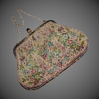 Hand Embroidered Pettipoint Evening Bag Cut Steel & Gilt Brass Frame