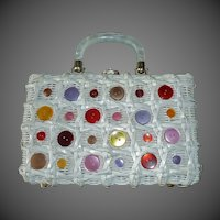 White Woven Lanyard Box Purse w Colored Buttons