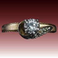 14k Yellow & White Gold Diamond Engagement Ring