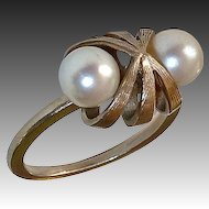 14k White Gold Modernist Ring w Cultured Pearls
