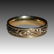 14k Yellow Gold Band Raised Curl Design Ring