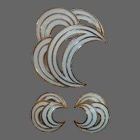 Trifari Goldtone & White Enamel Pin & Earrings Set