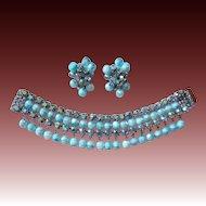 AB Rhinestone & Aqua Art Glass Dangle Wide Bracelet & Earrings Set
