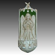 Antique German Porcelain Bisque Figural Angel Holy Water Font