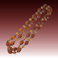 Antique Victorian Amber Cut Glass Bead Filigree Caps