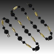 Art Deco Black & Yellow Glass Bead Necklace