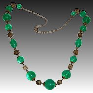 Art Deco Green Art Glass & Brass Filigree Bead Necklace
