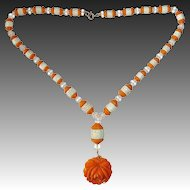 Art Deco Orange & White Czech Glass Bead Necklace w Large Rose Drop