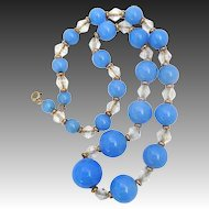 Crystal GF & Periwinkle Blue Glass Bead Necklace on Chain