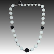 Faceted White Bead Adjustable Choker Black Accents