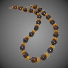 Bakelite Bead Necklace Marbled Brown & Butterscotch