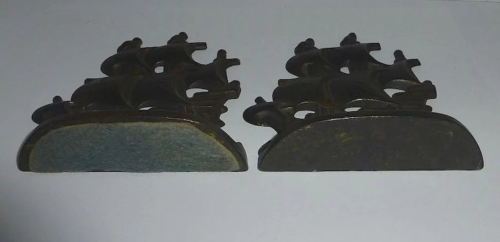 Cast Iron Spanish Galleon Bookends C1928 Sold Ruby Lane