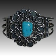 Native American Sterling & Turquoise Cuff Bracelet