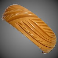 Art Deco Deeply Carved Butterscotch Bakelite Bangle Bracelet