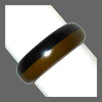 Black & Olive Laminated Bakelite Bangle Bracelet