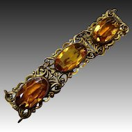 Art Nouveau Brass Bracelet Large Amber Glass Jewels