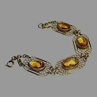 Gilt Brass Filigree Bracelet Citrine Glass Jewels