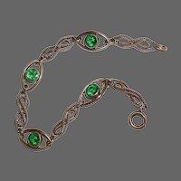 Rose Gold Filled Twisted Link Bracelet w Green Stones