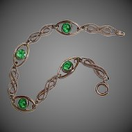 Rose Gold Filled Twisted Link Bracelet w Green Stones