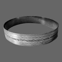 Sterling Silver Wide Embossed Bangle Bracelet