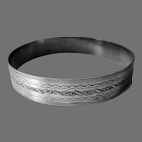Sterling Silver Wide Embossed Bangle Bracelet