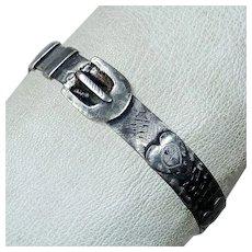 Antique Folk Art Sterling Belt Bangle Bracelet
