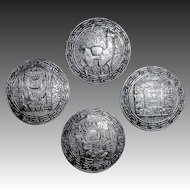 Set of Four Sterling Handcrafted Ethnic Peruvian Buttons