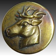 Brass Picture Button Buck Deer Head