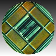 Art Deco Geometric Carved Celluloid XL Button