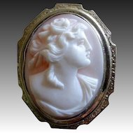 14k White Gold Rosalyn Shell Woman Cameo Pin