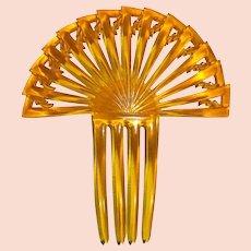 Art Deco Celluloid Stepped Fan Ornamental Hair Comb
