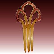 Art Deco Celluloid Hair Ornament Red Paste Stones