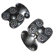 Repousse Spiral Design 800 Silver Cufflinks