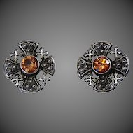 Vintage 950 Sterling Celtic Earrings with Amber Jewels