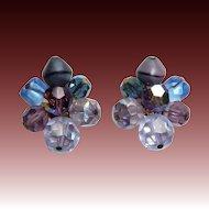 Vibrant Purple to Blue Hattie Carnegie Clip Earrings