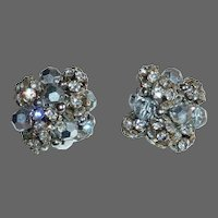 Chunky Vogue Rhinestone & AB Bead Clip Earrings