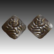 Handcrafted Repousse Brass Screw Back Earrings