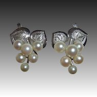 Sterling Engraved Leaves & Cultured Pearl Grapes Earrings