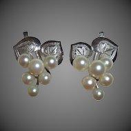Sterling Engraved Leaves & Cultured Pearl Grapes Earrings