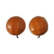 Butterscotch Bakelite Faceted Dome Screw Earrings