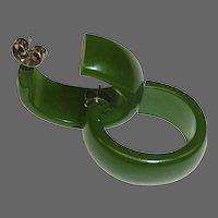 Green Bakelite Vintage Storestock Pierced Oval Hoop Earrings