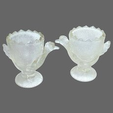 Adorable Vintage Pressed Glass Chicks Egg Cup Pair
