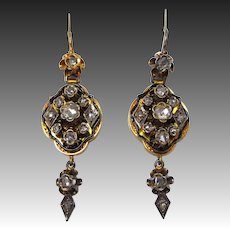 Georgian 14k Rose Cut Diamond Drop Earrings