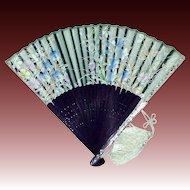 Hand Held Fan Confetti Lucite-Wood-Organza Silk Screened Floral