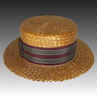 Men's Quality Straw Boater Early 20th Century