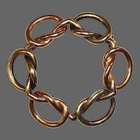 14k Art Deco Rose & Yellow Gold Knot Circle Pin